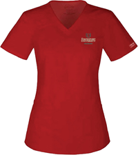 Scrub Top Womens Red